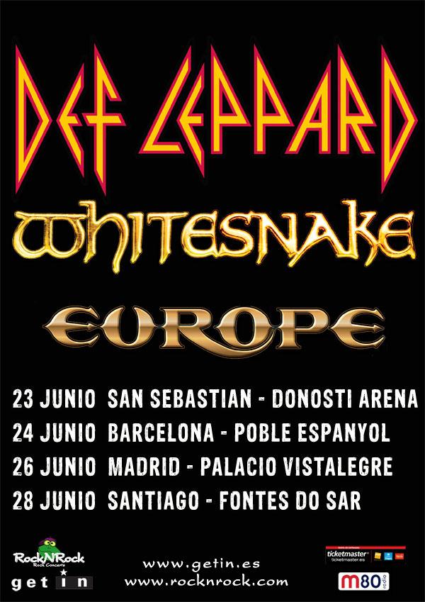 Whitesnake, Def Leppard y Europe - Concierto San Sebastián, Barcelona, Madrid y A Coruña