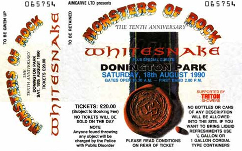 Monsters Of Rock 1990 ticket - whitesnake